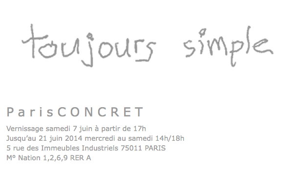 ParisCONCRET, Toujours simple 1